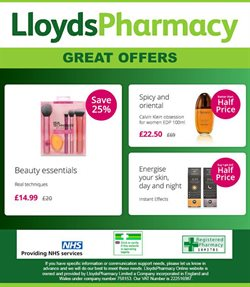 Pharmacy, Perfume & Beauty offers in the Lloyds Pharmacy catalogue in London ( 6 days left )