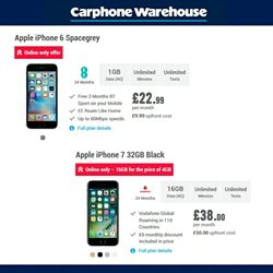 Mobile phones offers in the Carphone Warehouse catalogue in London