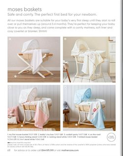 Moses basket offers in the Mothercare catalogue in London