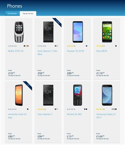 Sony smartphones offers in the O2 catalogue in Aberdeen