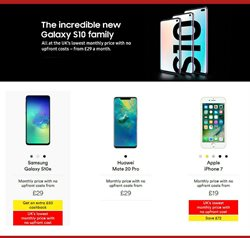 Samsung Galaxy offers in the Virgin Media catalogue in London