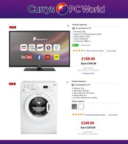 TV offers in the PC World catalogue in London