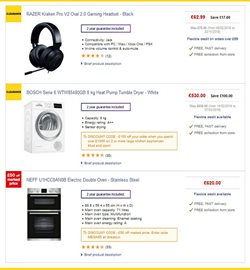 Washing machine offers in the PC World catalogue in London