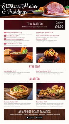 Restaurants offers in the Toby Carvery catalogue in Walsall ( 20 days left )