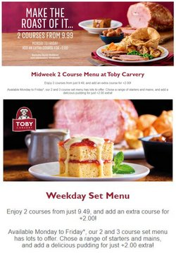 Toby Carvery offers in the Toby Carvery catalogue ( 14 days left)