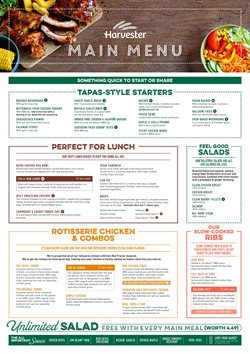 Restaurants offers in the Harvester catalogue in Taunton ( 10 days left )