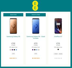 Samsung smartphones offers in the EE catalogue in Aberdeen