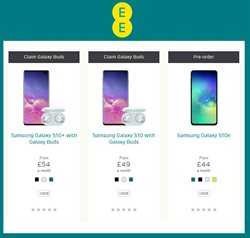 Samsung Galaxy offers in the EE catalogue in London