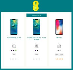 IPhone X offers in the EE catalogue in London