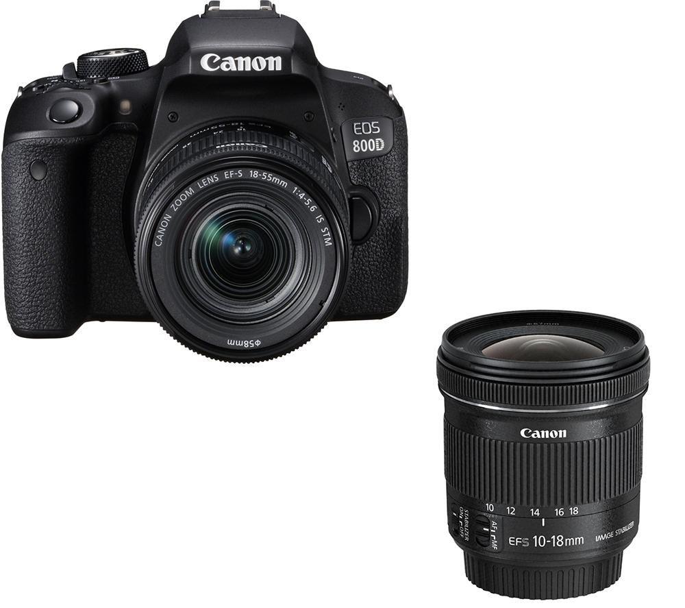 EOS 800D DSLR Camera, EF-S 18-55 mm f/4-5.6 Lens & EF-S 10-18 mm f/4.5-5.6 Lens Bundle offer at £988
