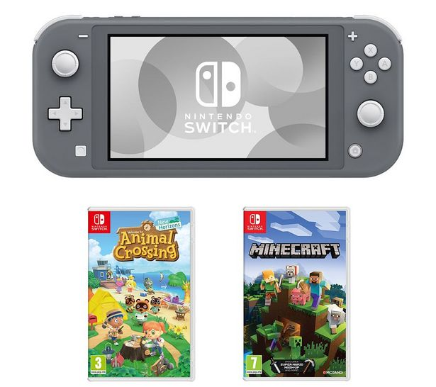Switch Lite, Animal Crossing: New Horizons & Minecraft Bundle - Grey offer at £239