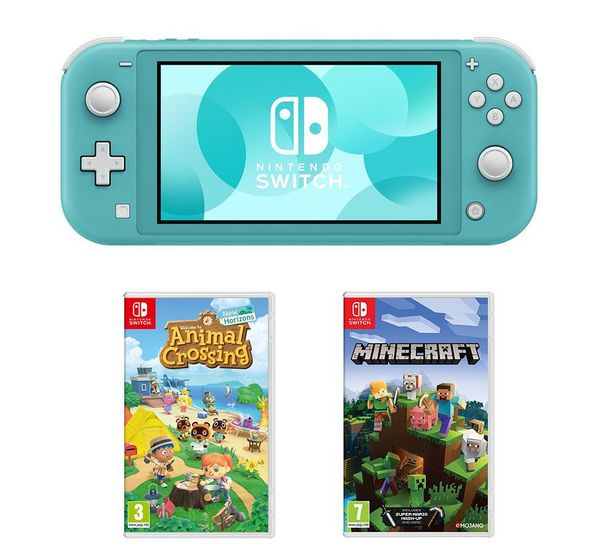 Switch Lite, Animal Crossing: New Horizons & Minecraft Bundle - Turquoise offer at £239