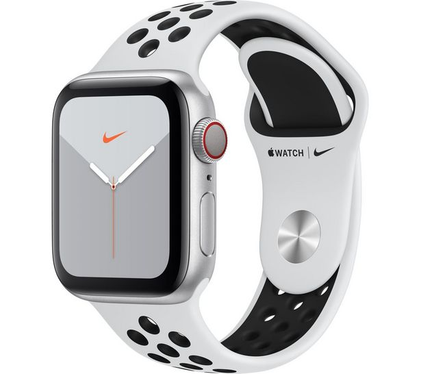 Watch Series 5 Cellular - Silver Aluminium with Platinum & Black Nike Sports Band, 40 mm offer at £299