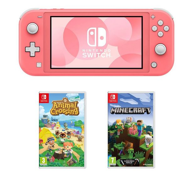 Switch Lite, Animal Crossing: New Horizons & Minecraft Bundle - Coral offer at £239
