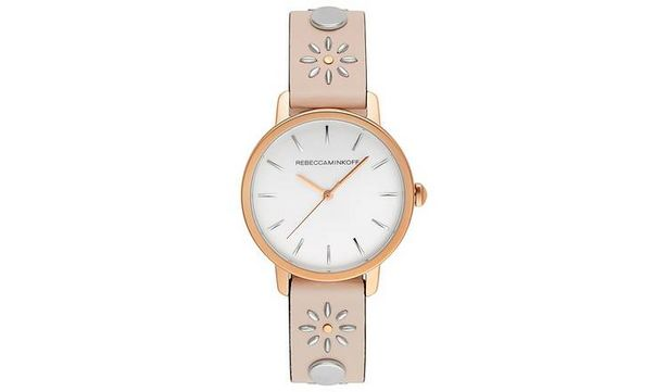 Rebecca Minkoff Ladies Pink Floral Leather Strap Watch offer at £69.99