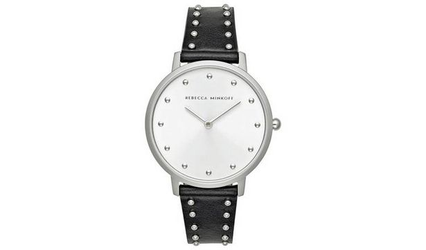 Rebecca Minkoff Ladies Black Leather Strap Watch offer at £64.99