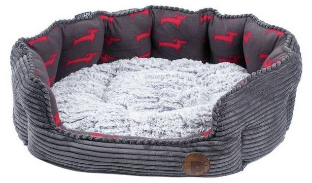 Petface Grey Bamboo & Jumbo Cord Deli Dog Bed - Large offer at £27.98