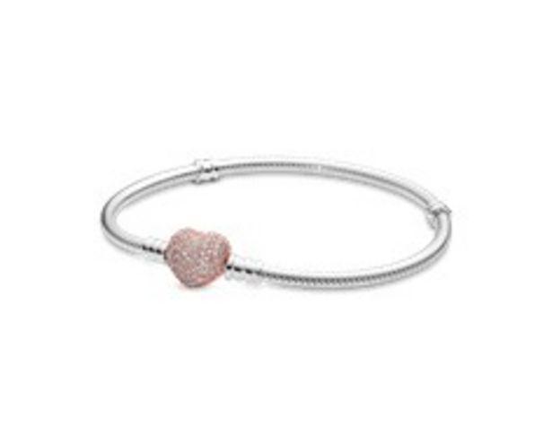 Pandora Moments Pavé Heart Clasp Snake Chain Bracelet offer at £90