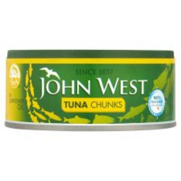 John West Foods Tuna Chunks In Sunflower Oil 145G offer at £1.25