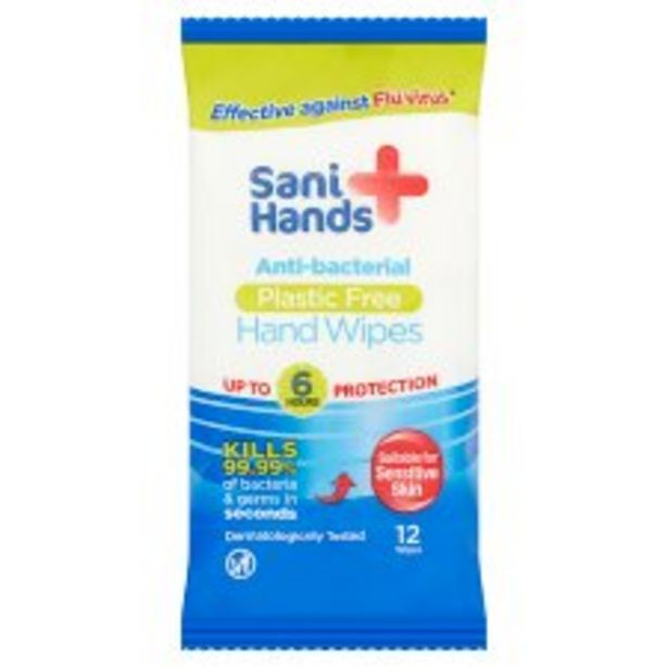 Sani Hands Anti-Bacterial 12 Hand Wipes offer at £1.5