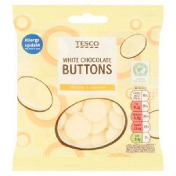 Tesco White Chocolate Buttons 70G offer at £0.4