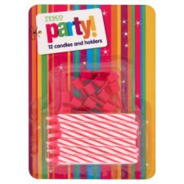 Tesco Pink Candy Stripe 12 Candles & Holder offer at £1