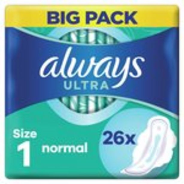 Always Ultra Normal (Size 1) Sanitary Towels Wings 26 pads offer at £3.02