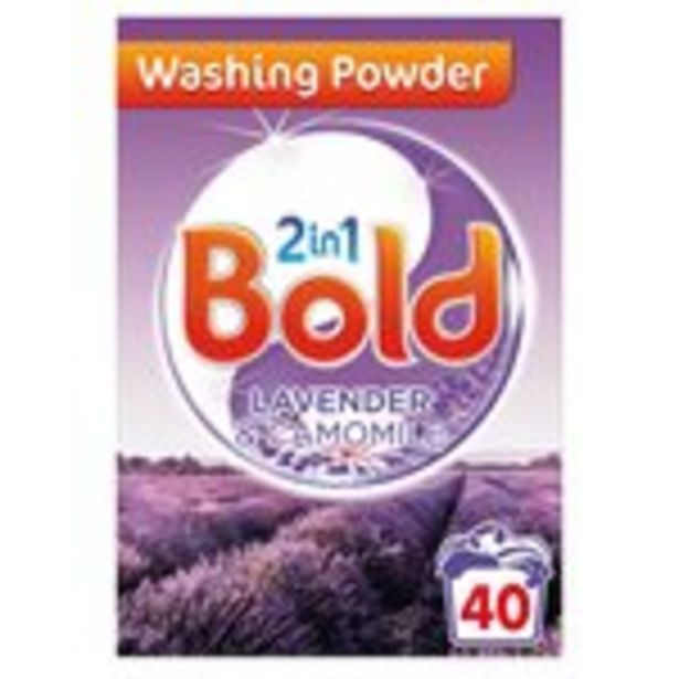 Bold 2in1 Washing Powder Lavender and Camomile 40 Washes offer at £4.5