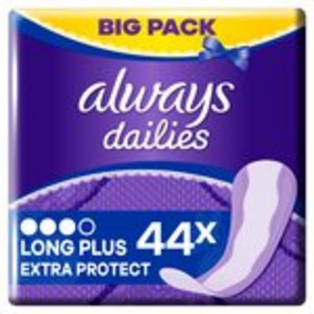 Always Dailies Extra Protect Panty Liners Long Plus 44 liners offer at £2.5