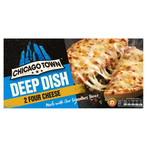 Chicago Town 2 Deep Dish Four Cheese Pizzas 310g offer at £1