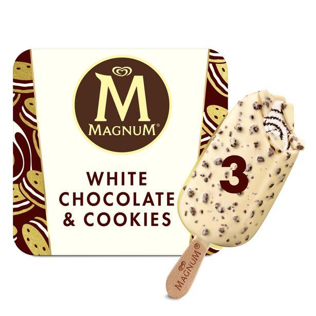 Magnum White Chocolate & Cookies Ice Cream 3 x 90 ml offer at £2