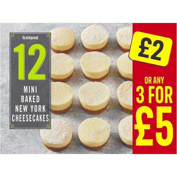 Iceland 12 Mini Baked New York Cheesecakes 268g offer at £2