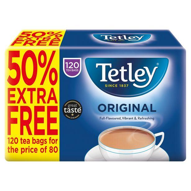 Tetley Original Tea Bags x120 (50% Extra Free) offer at £2