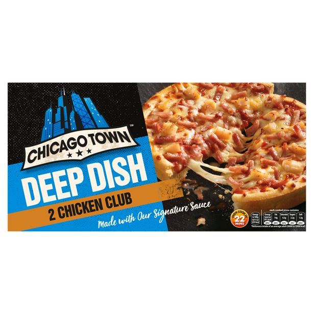 Chicago Town 2 Deep Dish Chicken Club Pizzas 320g offer at £1