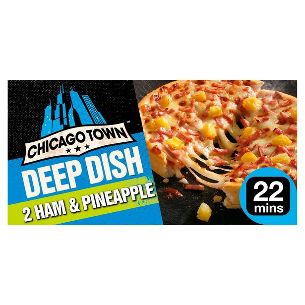 Chicago Town 2 Deep Dish Ham & Pineapple Pizzas 330g offer at £1