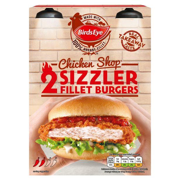 Birds Eye 2 Chicken Shop Sizzler Fillet Burgers 227g offer at £1.5