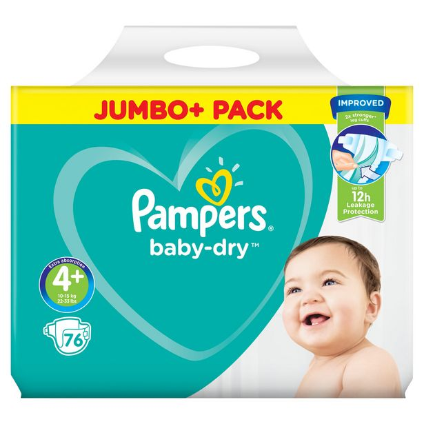 Pampers Baby-Dry Size 4+, 76 Nappies, 10-15kg, Jumbo+ Pack offer at £9