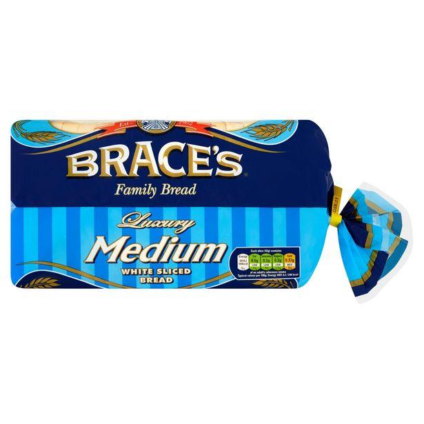 Brace's Family Bread Luxury Medium White Sliced Bread 800g offer at £1.1