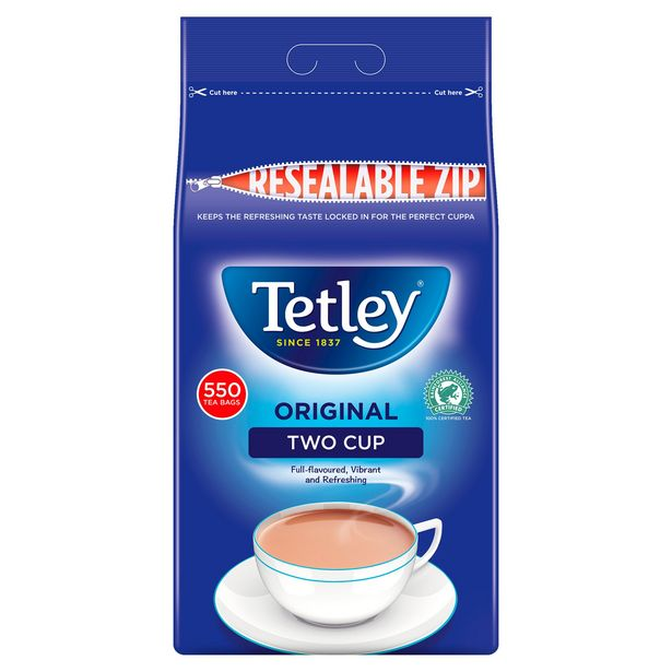 Tetley Two Cup 550 Tea Bags 1.5kg offer at £6.5