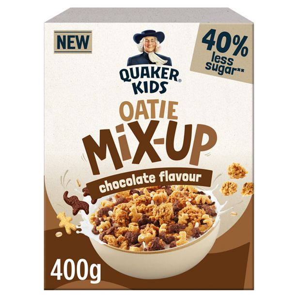 Quaker Kids Oatie Mix-Up Chocolate Cereal 400g offer at £1.5