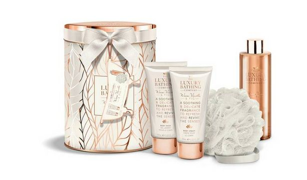 The Luxury Bathing Company Vanilla and Fig Spa Tin Set offer at £11.69