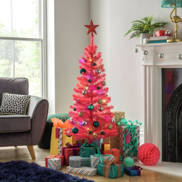 Argos Home 4ft Christmas Tree - Pink offer at £9