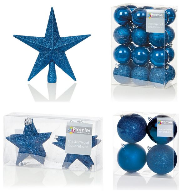 Premier Decorations 35 Piece Luxury Decoarions - Dark Blue offer at £31.5