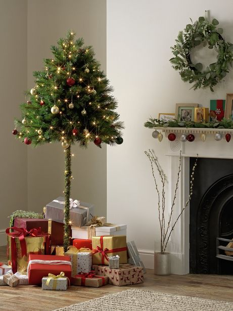 Argos Home 6ft Half Parasol Christmas Tree - Green offer at £15