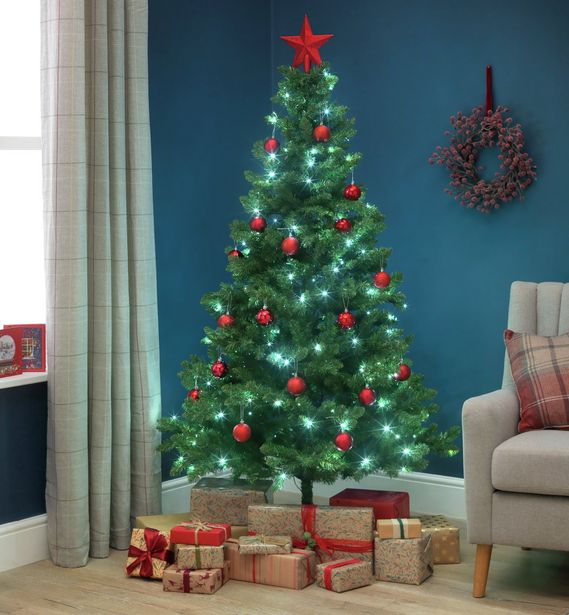 Argos Home 6ft Pre-Lit Spruce Christmas Tree - Green offer at £18