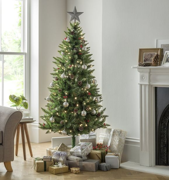 Argos Home 6ft Berry & Cone Pre-Lit Christmas Tree - Green offer at £18