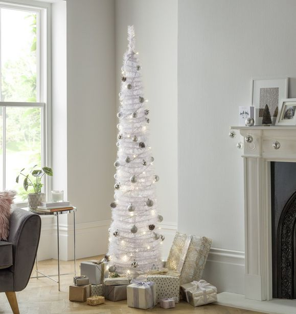 Argos Home 6ft Pop Up Pre-Lit Christmas Tree - White offer at £7.5