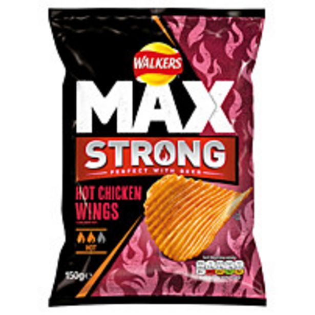 Walkers Max Strong Hot Chicken Wings Crisps 150g offer at £1