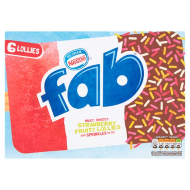 Fab 6 Strawberry Ice Lollies offer at £1.9
