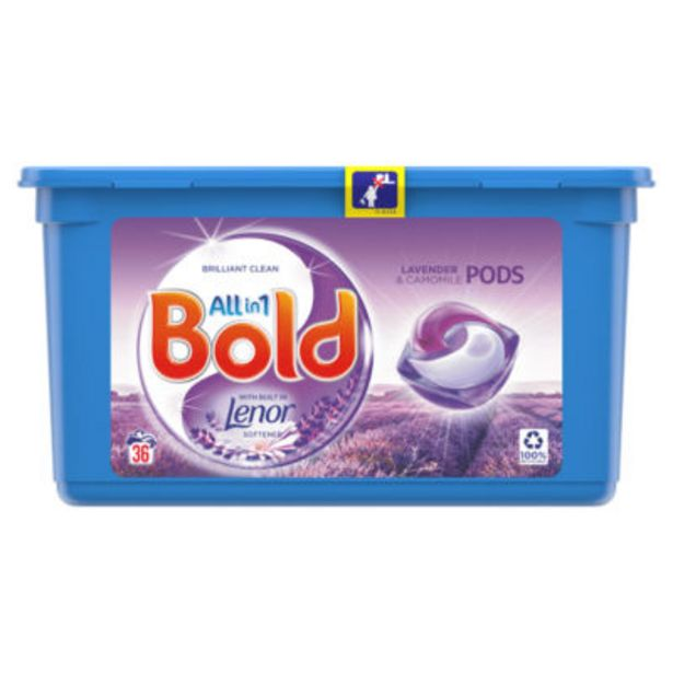 Bold All-in-1 Pods Washing Liquid Capsules Lavender & Camomile 36 Washes offer at £5.95